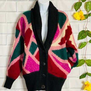 VINTAGE Color Block Button Front Knit Cardigan